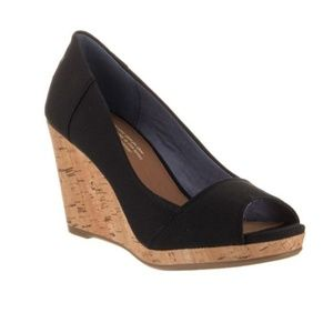 Black Stella Open Toe Womens Toms Wedges 6